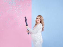 Confetti kanon 60 cm met blauwe confetti