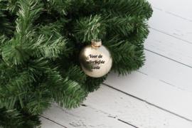 Kerstbal goud mat of glanzend glas met naam of tekst