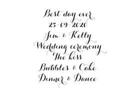 DIY Tekst sticker voor bruiloft bord