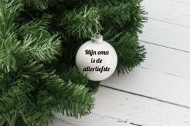 Kerstbal wit glanzend van glas met naam of tekst