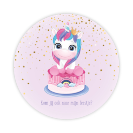 Ronde kaart uitnodiging verjaardag feestje unicorn