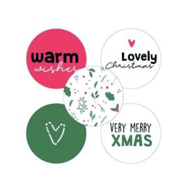 Cadeausticker kerst gekleurd set 5 stuks