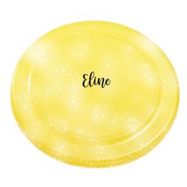 Glitter frisbee geel