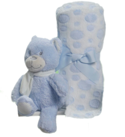 Knuffelbeertje blauw met heerlijk zacht dekentje in cadeaudoos