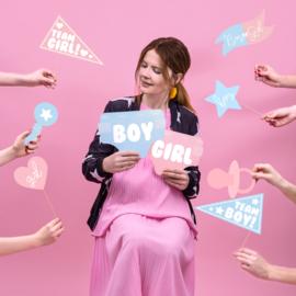 Foto props voor gender reveal party