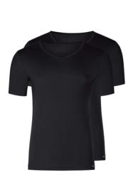 Shirt V-hals 2-pak zwart | korte mouwen Multi pack