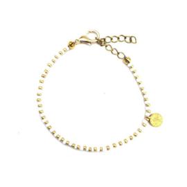 Gold white bracelet coin
