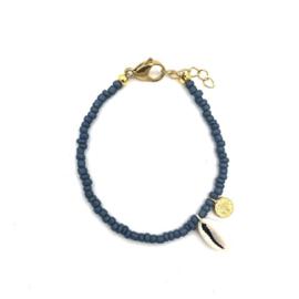 Shells coins bracelet navy gold
