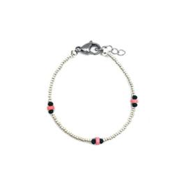 Silver bracelet pink coral