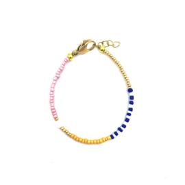 Yellow blue bracelet pearl