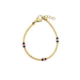 Gold bracelet pink coral