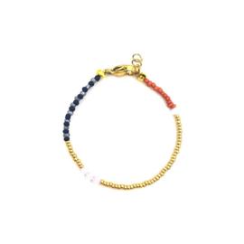 Brown blue bracelet gold