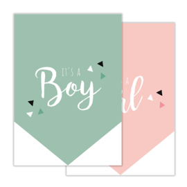 Invulkaart Babyshower Boy & Girl (set)