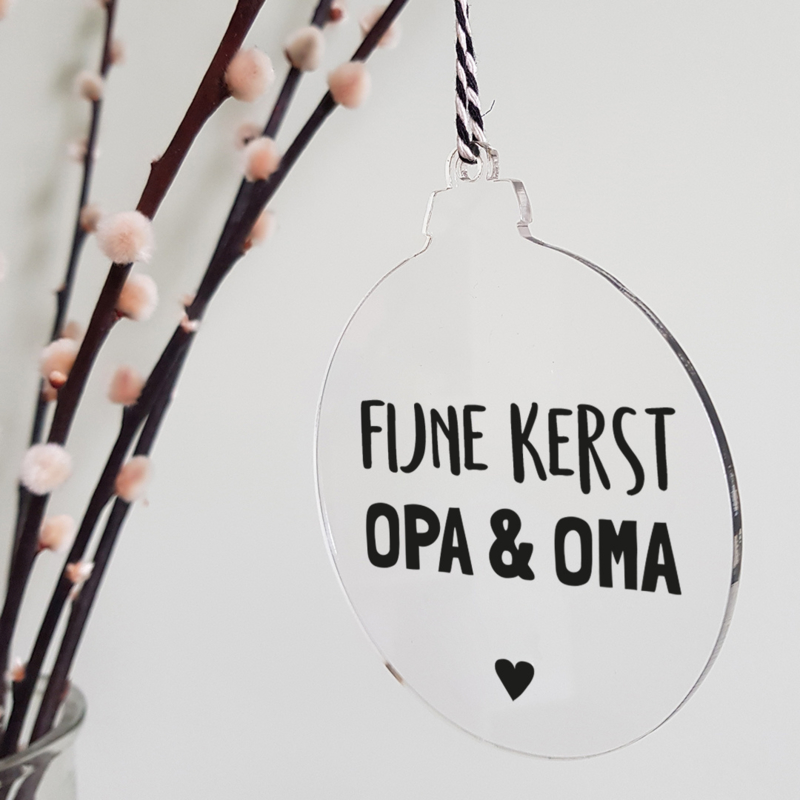 Kerstbal plexiglas   Opa en Oma