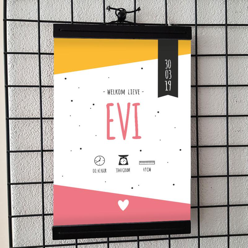 Geboorteposter Evi