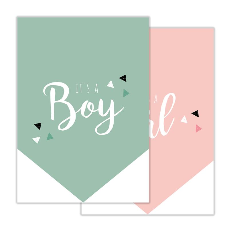 Invulkaart Babyshower Boy & Girl (set)