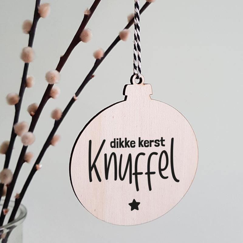Kerstbal hout   Kerst Knuffel