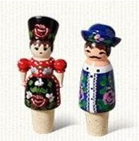 Hand-painted wine corks, Hungarian dolls