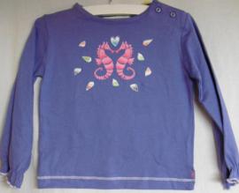 Shirt met lange mouwen, paars, zeepaardjes, mt 80