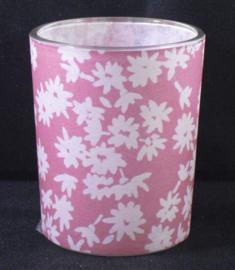 Theelichthouder van glas, roze met witte bloemen