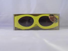 Zonnebril met klittenband, geel met groene stippen