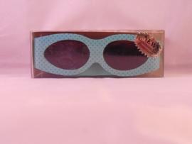 Zonnebril met klittenband, groen met paarse stippen