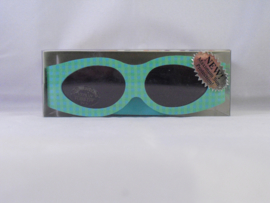 Zonnebril met klittenband, groen met groene ruitjes
