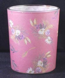 Theelichthouder van glas, roze met bloemen