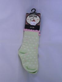 Groene sokjes met een roze randje, mt 0-4 mnd