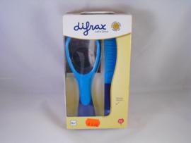 Haarborstel en kammetje van Difrax, blauw