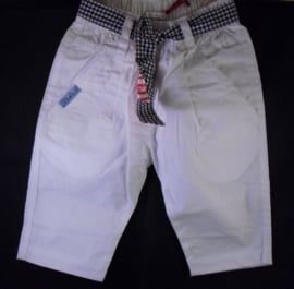 Wit katoenen broekje met strikband, Bondi, mt 62