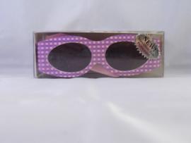 Zonnebril met klittenband, roze met paarse ruitjes