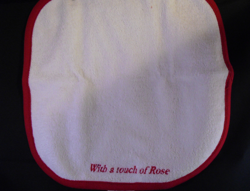 Spuugdoekje wit-rood, With a touch of Rose, fair-trade