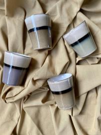 Koffiemok  GEMELEERD CREME/STREEP