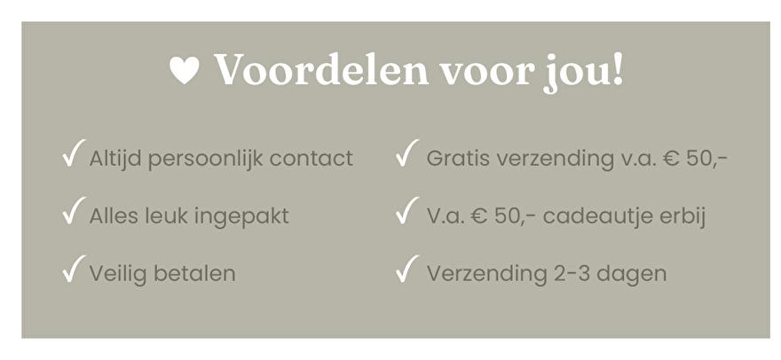 Altijd persoonlijk contact, alles leuk ingepakt, veilig betalen, gratis verzending v.a. € 50,-   Vita32