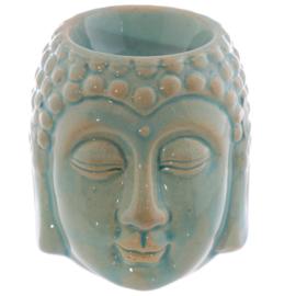 Crackelee Glazuur Keramiek Boeddha Hoofd Oliebrander / LICHT GROEN
