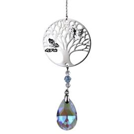 Kristaldruppel violet met levensboom 30 cm