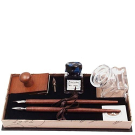 Kroontjes pen set met glazen Inkpot
