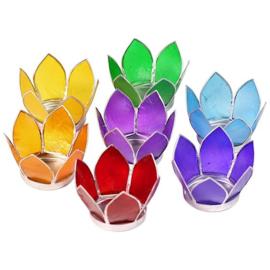 Set van 7: Lotus sfeerlicht klein chakra zilverrand