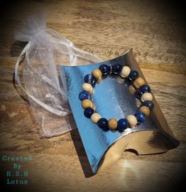 lapis lazuli/ Schima houten Armband kralen 8mm