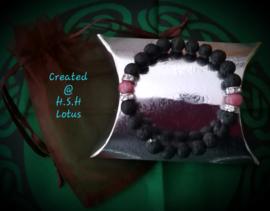 Zwarte lava steen Armband met Rhodoniet/Strass