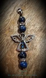 Sleutelhanger/hangertje Lapis lazuli met beschermengeltje