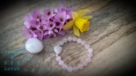 Rozenkwarts Armband met rozenkwarts hartje