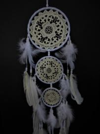 16cm 1+2 gehaakte Dromenvanger wit met ganzenveren