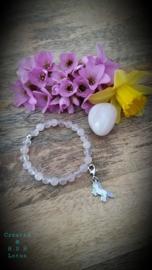 Licht roze & roze / rozenkwarts  Armband / met Eenhoorn hangertje