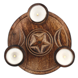 TRIPLE MOON TEALIGHT KAARSHOUDER
