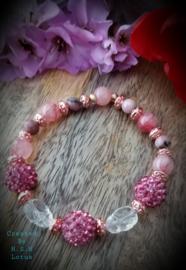 Line Rhodoniet/ Jade licht roze Afghanistan Armband