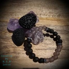 Amethist ( licht lavendel)& lava Armband / Strass