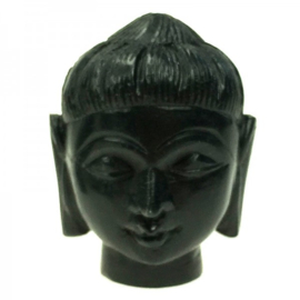 Boeddhahoofd van zwart speksteen
