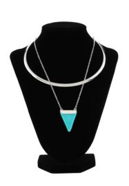 Halsketting met natuursteen hanger Turquoise Howlite 40cm